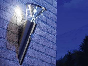 lunartec solarwandleuchten solar led wandlampe in edelstahl optik mit bewegungsmelder solar. Black Bedroom Furniture Sets. Home Design Ideas
