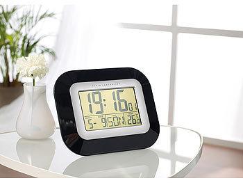 infactory wand tisch funkuhr mit weckfunktion temperatur und datums anzeige. Black Bedroom Furniture Sets. Home Design Ideas