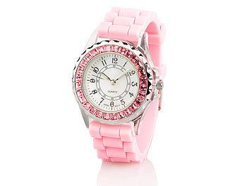 crell silikonarmband uhren sportliche silikon quarz armbanduhr mit strass rosa mode uhren. Black Bedroom Furniture Sets. Home Design Ideas