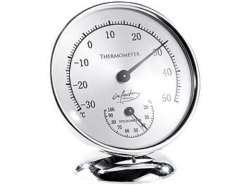 infactory Analoges XL Thermometer mit Hygrometer, 14 cm infactory Analoge Hygrometer Thermometer
