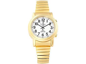 St. Leonhard Sprechende Funk- & Solar-Seniorenuhr, vergoldet (refurbished) St. Leonhard Sprechende Senioren Funk Armbanduhren