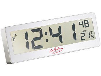 Kompakte Funkuhr mit riesigem XXL-LCD-Display und Temperatur-Anzeige / Funkuhr