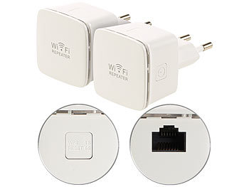 Mobiler WLAN Repeater: 7links 2er-Set Mini-WLAN-Repeater WLR-350.sm mit Access-Point & WPS-Knopf