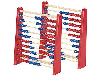 2er-Set Holz-Rechenschieber mit 100 Holzperlen, 2 Farben (blau & rot) / Spielzeug