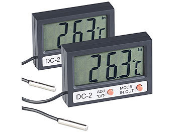 Aquarien-Thermometer: infactory 2er Pack Digitales Aquarium-Thermometer mit Uhrzeit und LCD-Display