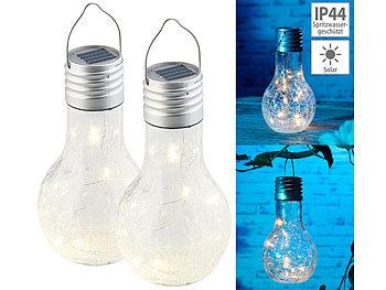Lunartec 4er-Set Solar-LED-Lampen in Glühbirnen-Form 2 Lumen 3 warmweiße LEDs