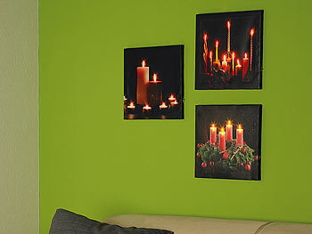 infactory led bilder led leinwandbild mit romantischem kerzenflackern modern times kerzenbild. Black Bedroom Furniture Sets. Home Design Ideas