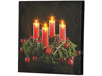 infactory LED Wandbild: LED Leinwandbild Advent mit