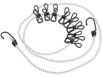 Flexible Wäscheleine mit 8 beschichteten Klammern, 170-210cm / Wäscheleine