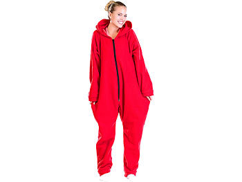 Jumpsuit aus flauschigem Fleece, rot, Grösse S / Jumpsuit