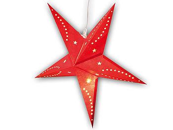 Lunartec Papierstern Lampe: 3D Weihnachtsstern Lampe, Stern