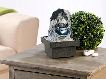 infactory zimmerbrunnen felsenquelle mit pumpe und led ca 20 cm. Black Bedroom Furniture Sets. Home Design Ideas