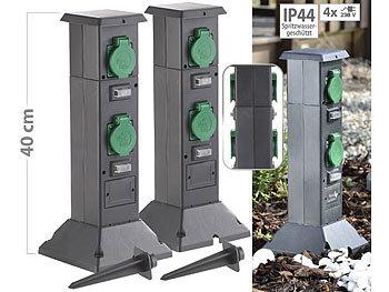 Steckdosensäule 4-Fach Außensteckdose Gartensteckdose Strom Verteiler 16A IP44