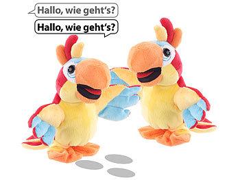 2er-Set sprechende Plüsch-Papageien mit Mikrofon, sprechen nach, 22 cm / Papagei