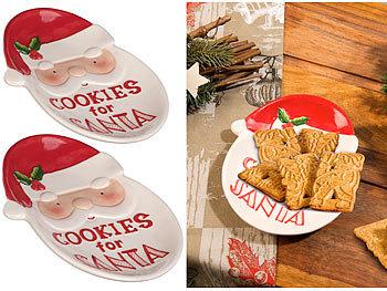 2er-Set  Keks-Teller mit Weihnachtsmann-Motiv & Aufschrift / Teller