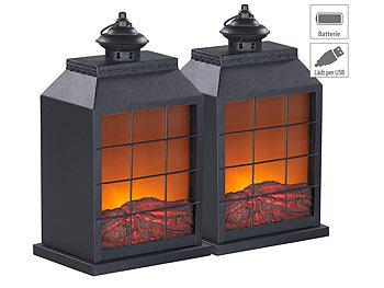 2er-Set Elektro-Deko-Kamine, Flammen-Optik, USB- & Batterie-Betrieb / Kamin