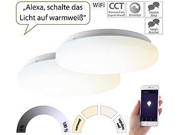 2er-Set WLAN-LED-Deckenleuchten für Amazon Alexa&Google Assistant, 24W / Deckenleuchte