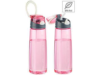 2er-Set BPA-freie Kunststoff-Trinkflaschen mit Einhand-Verschluss / Trinkflasche
