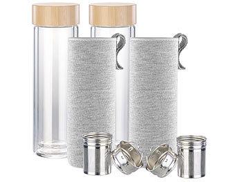 2er-Set doppelwandige Glas-Trinkflaschen mit Neopren-Hülle & Tee-Sieb / Teeflasche