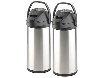 2er-Set doppelwandige Vakuum-Isolierkannen mit Pumpsystem, je 5 l / Teekanne