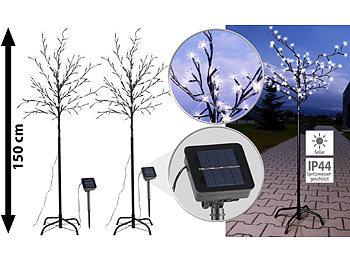 50 cm Lunartec 4er-Set Solar-LED-Lichtersträucher mit 8 Blüten und Erdspieß