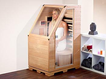 newgen medicals kompakte infrarot sitzsauna aus hemlock holz 760w ben tigt 0 62 m. Black Bedroom Furniture Sets. Home Design Ideas