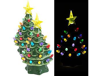 2 Deko-Weihnachtsbäume aus Keramik mit LED-Beleuchtung, Timer, 19 cm / Weihnachtsbeleuchtung