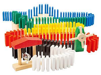 Domino-Set mit 480 farbigen Holzsteinen und 11 Streckenbau-Elementen / Domino