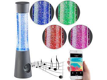 Lunartec Glitterlampe: Tornado Lampe mit Lautsprecher, RGB