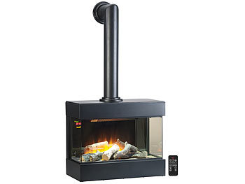 Nostalgie-Elektro-Wandkamin mit 3D-Flammeneffekt, 2.000 Watt, 60 cm / Elektrokamin