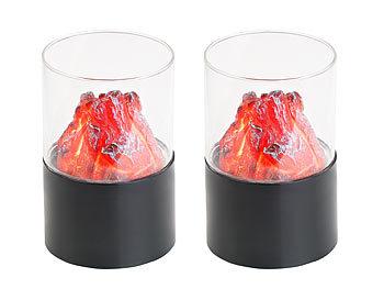 2er-Set Mini-Dekofeuer mit Flackerlicht, Sichtglas, batteriebetrieben / Deko Lichter