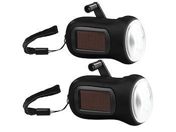 2er-Set Dynamo-Akku-Taschenlampe mit Solarpanel, 3 LEDs, 0,4 W, 20 lm / Kurbeltaschenlampe
