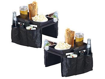 2er-Set Sofa-Organizer: 5 Taschen & Ablagefläche für Snacks & Getränke / Sofa Butler