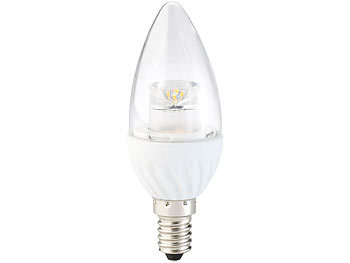 Luminea Klare LED-Kerze, E14, 4 W, 300 lm, warmweiß, 160°