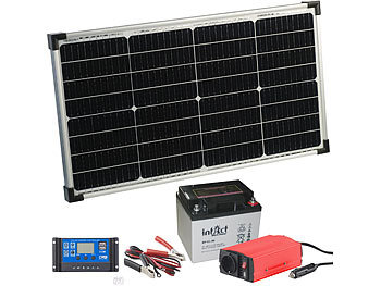 revolt solar inselanlage solarpanel 50 w mit blei akku laderegler wechselrichter. Black Bedroom Furniture Sets. Home Design Ideas