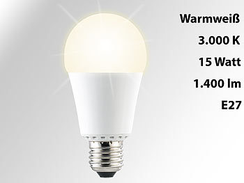 Luminea High-Power-LED-Lampe, E27, 15 Watt, 1.400 Lumen, warmweiß (3000 K), A+ Luminea LED-Tropfen E27 (warmweiß)