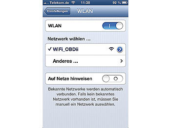 Lescars OBD-2-Profi-Adapter OD-250.ios, mit Wi-Fi für iPhone & iPad Lescars OBD2-Smartphone-Bordcomputer