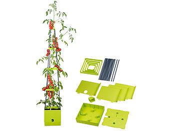 Pflanz-Turm mit Rankhilfe für Tomaten, mit 2,5-l-Wassertank / Pflanzturm