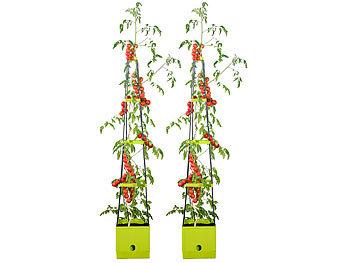 2er-Set Pflanz-Türme mit Rankhilfe für Tomaten, mit 2,5-l-Wassertank / Pflanzturm