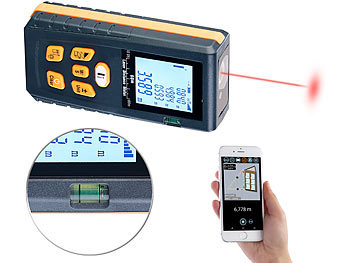 Laser-Entfernungsmesser mit LCD & Bluetooth, Messbereich 5 cm - 60 m / Laser Entfernungsmesser