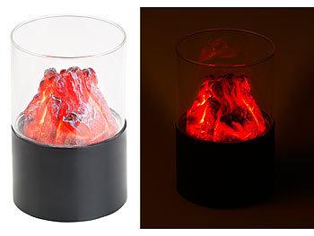 Mini-Dekofeuer mit Flackerlicht, Sichtglas, batteriebetrieben / Dekofeuer