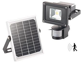 DHL 10 LED Solarleuchte Solarlampe mit Bewegungsmelder Außen Fluter Wandstrahler