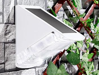 luminea wand au enleuchte led solar wandleuchte mit 2 leds und pir sensor ip44 tageslichtwei. Black Bedroom Furniture Sets. Home Design Ideas