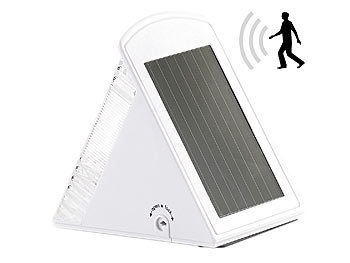 luminea wandlampe ohne strom led solar wandleuchte mit 2 leds und pir sensor ip44. Black Bedroom Furniture Sets. Home Design Ideas