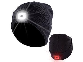 Mütze mit LED Licht vorne und hinten für Kinder Hellblau zum Aufladen mit USB