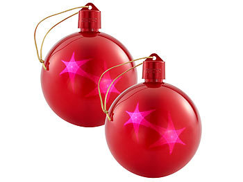 2er-Set LED-Weihnachtskugeln mit 3D-Effekt, rot / Weihnachts Beleuchtung