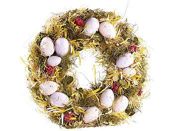 Osterkranz mit rosa- und fliederfarbenen Eiern, gelbem Stroh, Ø 34 cm / Osterkranz