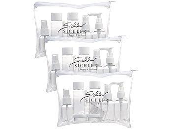 3er-Set Reise-Reissverschlusstaschen, 21 Behälter für Flug-Handgepäck / Reiseset