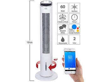 3in1-WLAN-Luftkühler mit App, für Siri, Alexa & Google Assistant, 60 W / Luftkühler