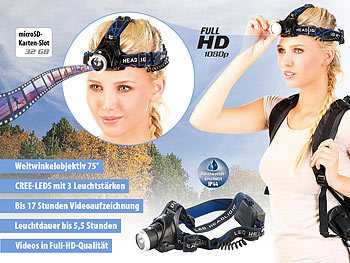 Somikon LED-Outdoor-Stirnlampe mit Full-HD-Kamera, IP44, 3 W Somikon Stirnlampen-Actioncams